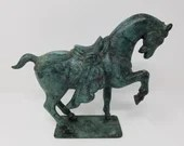 Beautiful Bronze Signed Statue Chinese Tang Horse 8.5 Tall