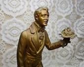 Brass Metal Gentleman Top Hat Statue Marble Base Dickens 8.5 Inches