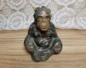 Antique Painted Monkey Chimp Spelter Still Bank