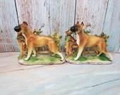 Rare Vintage Painted Lefton Ceramic Boxer Dog Figural Bookends 1640