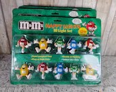 NOS Vintage M and M Happy String Christmas Lights 4 Boxes 40 Total