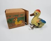 Rare Occupied Japan Tin Litho Wind Up Walking Duck with Box
