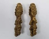 Pair Antique Solid Brass Cherub Figural Nutcrackers