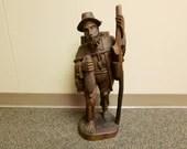 Vintage 22in Hand Carved Black Forest Wood Figure Of Woodsmen Farmer Man German