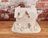 Ornate Italy Blanc de Chine Porcelain Farm Barn Trinket Box