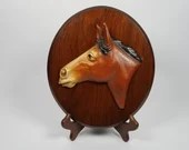 Hubley Cast Iron Horse Head Plaque Wood Mounted 10 Inch