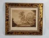 1777 Framed Etching Mezzotint Earlom Claude le Lorrain Roman Landscape
