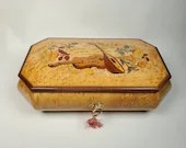 Reuge Music Jewelry Trinket Box Inlay Inlaid Wood Painted 9.25 Inches