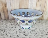 Bohemian Czech Moser Cased Glass White To Light Blue Overlay Hand Painted Bowl