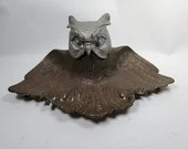Antique Cast Iron Great Owl Inkwell Pen Tray No 4536 Glass Insert
