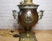 Antique Miller Lamp Co Cherub Mask Copper Brass Handled Converted Lamp