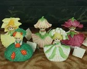 5 1980s United China & Glass Co Porcelain Bells Sprouts