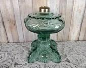 EAPG Pattern Rare Green Princess Feather Glass Oil Lamp Kerosene