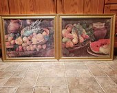 Pair of Framed Fruit Still Life Painting on Screens Meshed Wire