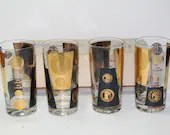 4 Midcentury Calarama Gold Coin Insulated Hi Ball Tumblers Gold Black in Box