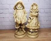 Early 19c Boy and Girl Porcelain Figures Royal Dux Austrian