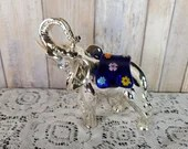 Signed Laminato Ag Silver And Millefiori Glass Elephant Figure Paperweight