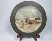 Antique Primative Folk Art Painting on Metal Plate 8.75 inches