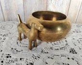 Chinese Etched Brass Bowl W Attached Dog Signed 林 Neat Detail