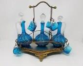 "Antique Victorian 13"" Liqueur Blue Swirl Tantalus 3 Decanters 8 Cups"
