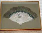Vintage Hand Painted Peacock White Feather Bone Shadowbox Folding Fan