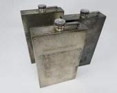 Set of 3 E&JB Hammered Silver Plated Flasks Leather Case Set