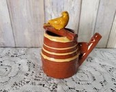 Vintage Mid Century Redware Pottery Bird Watering Can Whistle