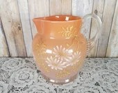 1920 Fenton Peach Cider Pitcher Enamel Daisies Gold Greenery Numbered