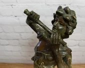 19th c Spelter Figure of Man Playing Flute / Piccolo 17inch