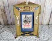 Rare President Grover Cleveland Silk Stevengraph iCast Iron Patriotic Frame