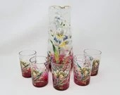 Victorian Glass Cranberry inverted Coin Decorated Lemonade Water Set