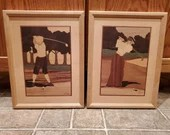 Pair of Hudson River Inlay Framed Golfer Plaques Jeffrey Nelson