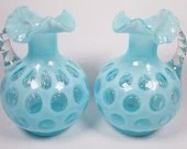 Pair Vintage Fenton Blue Opalescent Dot Optic Coin Spot Glass Pitchers