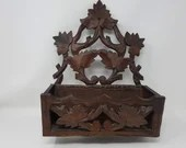 Black Forest Carved Wood Maple Leaf Wall Box