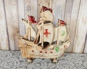 Antique Hubley 205 Cast Iron Doorstop Spanish Galleon Ship TV Light