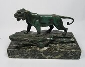 Signed Nino de Fiesole Bronze Statue Mountain Lion Marble Base