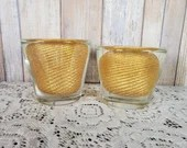 Pair MCM 1950s Murano Glass Spiral Gold Candlestick Holders Papeweight