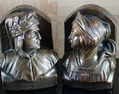 Armor Bronze Dante and Beatrice Clad Bookends