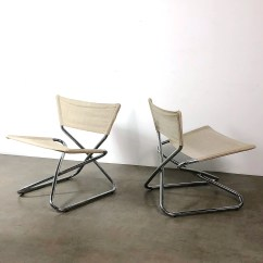 Folding Z Chair Stadium Company Pair Of Erik Magnussen Chrome Sling Down Chairs 1960 S Etsy Image 0