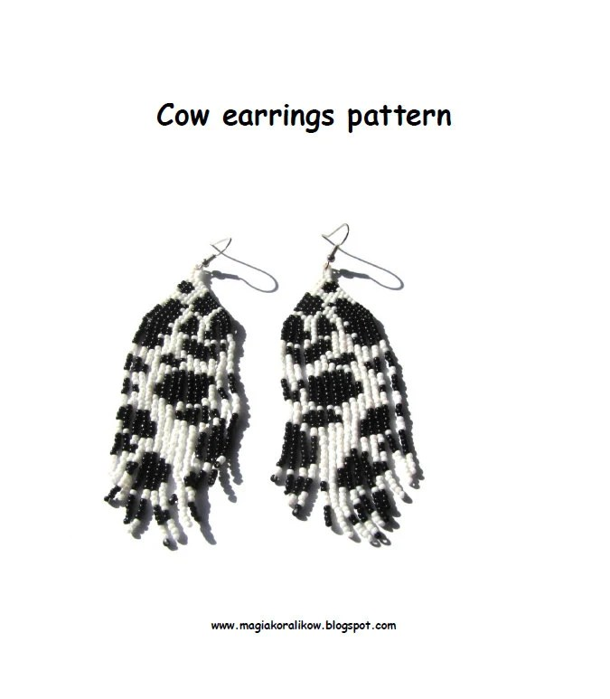 Items similar to Cow earrings pattern, animal jewelry, cow