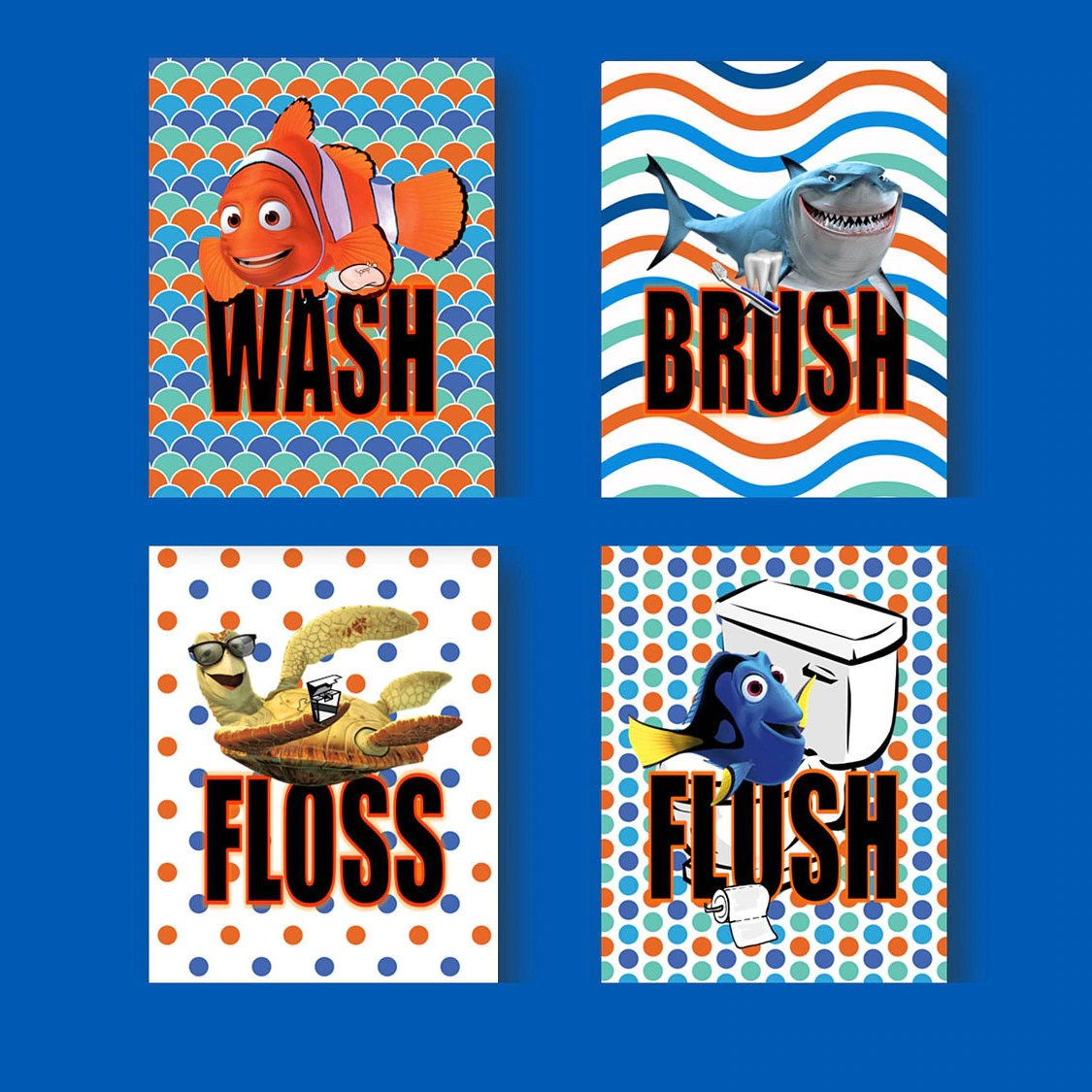 Nemo Bathroom Set Finding Nemo Dory Wash Brush Floss Flush Kids Bathroom Wall Art Set Of 4