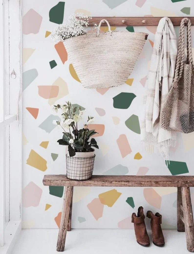 Large Colorful Terrazzo Removable Wallpaper Wall mural Peel image 0