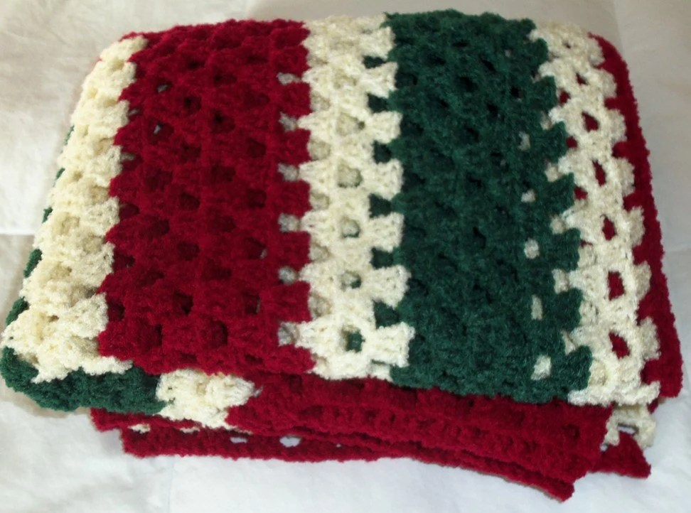 crochet christmas chair covers office mat for hardwood floor decor handmade granny stitch afghan blanket etsy image 0