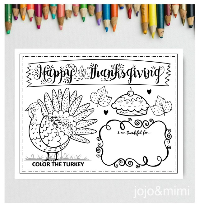 THANKSGIVING Printable Placemat Activity Fall Coloring Page Instant  Download Happy Thanksgiving Dinner Placemat Turkey