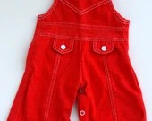 "Red with White Detailed Unisex "" Les Kids"" Overalls (New Born)"
