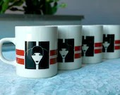 "Set of Four Vintage ""Mod"" Coffee Mugs (Marco Polo brand)"