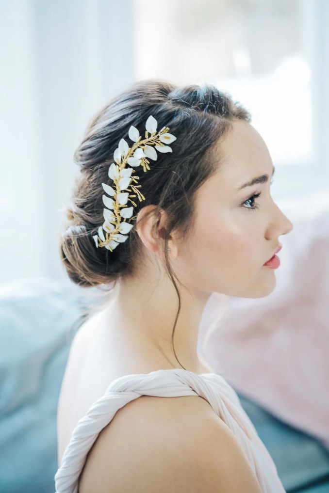 leaf headdress, leaf headpiece, bridal hair vine, gold hair vine, gold leaf hair vine, grecian headpiece, gold leaf hair comb, gold leaves