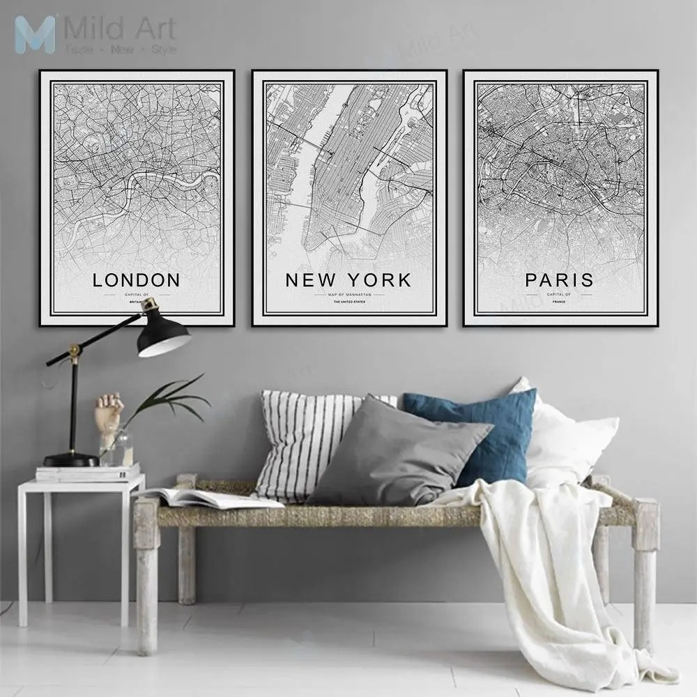 framed wall pictures for living room ireland painting ideas art etsy freeshipping world famous city map london paris new york poster print nordic picture home deco canvas no frame