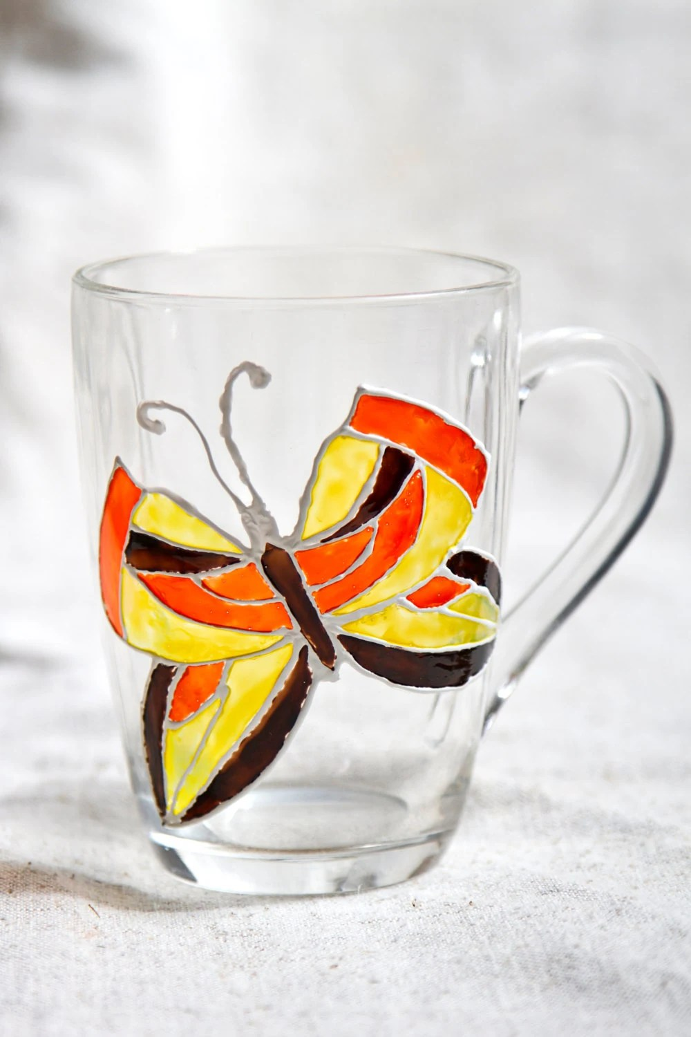 Glass Cup Painting : glass, painting, Painted, Orange, Butterfly, Stained, Glass, Decor