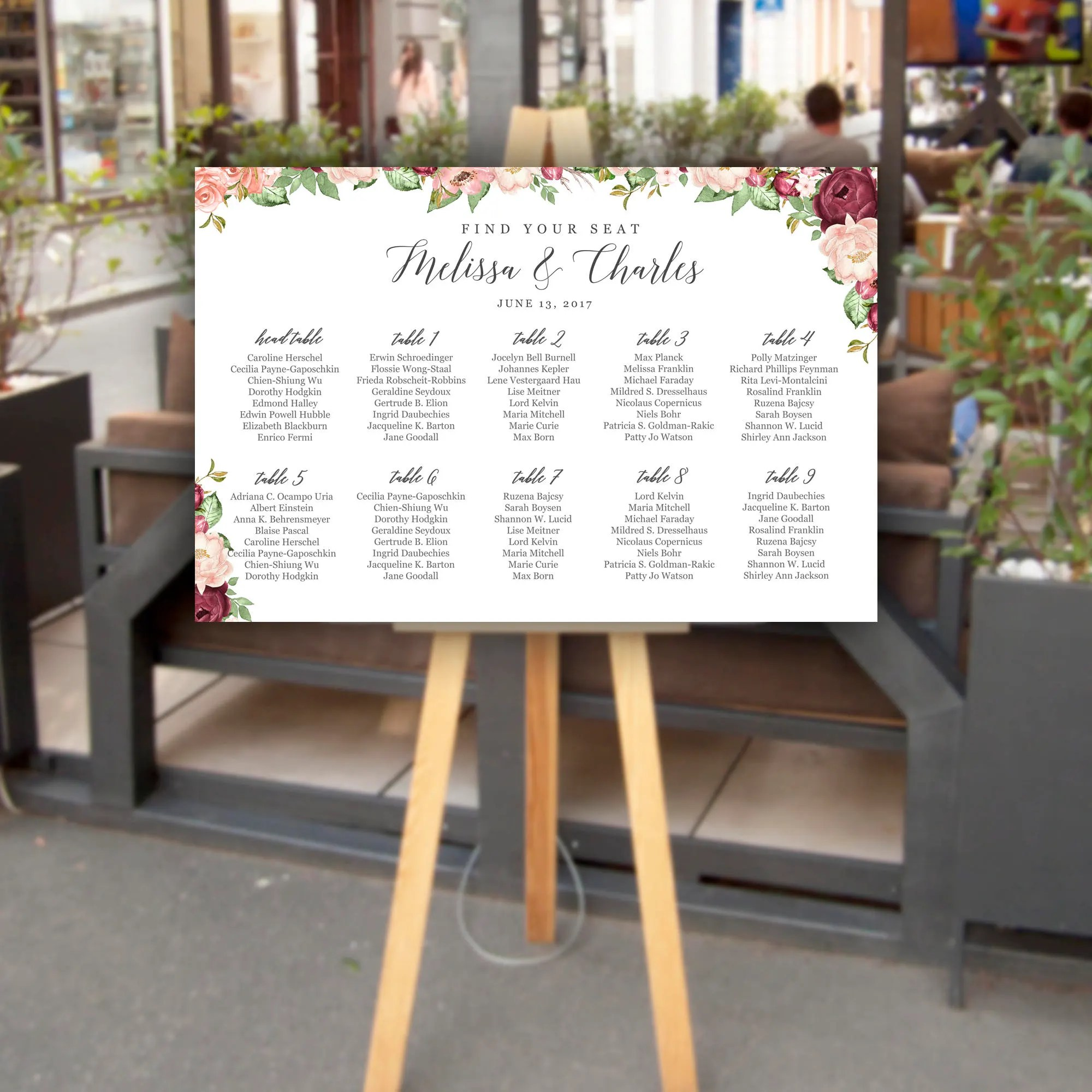 Customized printed wedding seating chart poster burgundy flowers digital personalized also templates etsy ca rh
